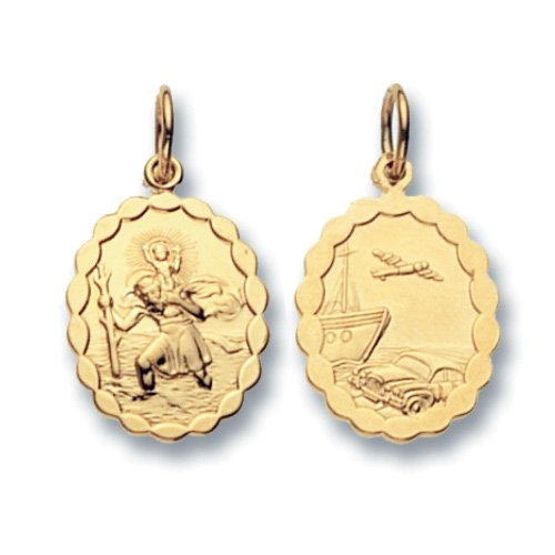 9ct Gold Oval Double Sided St Christopher With Wavy Edge Pendant On A 18 Inch Belcher Necklace