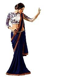 Shubhkari Fashion Blue & White Georgette Women's Saree With Blouse(SF_FREE_SIZE_1007)