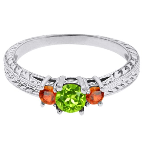 0.56 Ct Round Green Peridot Orange Sapphire 14K White Gold 3-Stone Ring