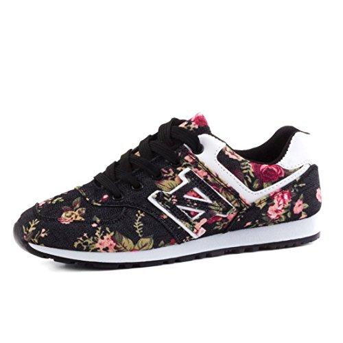 Sneaker-Scarpe sportive stringate basse Trendy per donna con motivo floreale, Nero (nero), 38