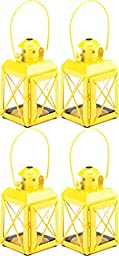 4 Yellow Railway Style Tealight Candle Lanterns Lamps With Handle & Hinged Door
