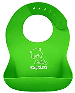 "McPolo's BABYSOFT iBib ® - the ""iPhone"" in Silicone Baby Bib World! - Fitting MORE Growing Babies 3 Mos to PreSchoolers comfortably with Smart Buttons - Facts: iBib ★ replaces cloth bibs BY THE STACKS ★ outlasts BABYBJORN and all its TPE SPLAs (Stiff"