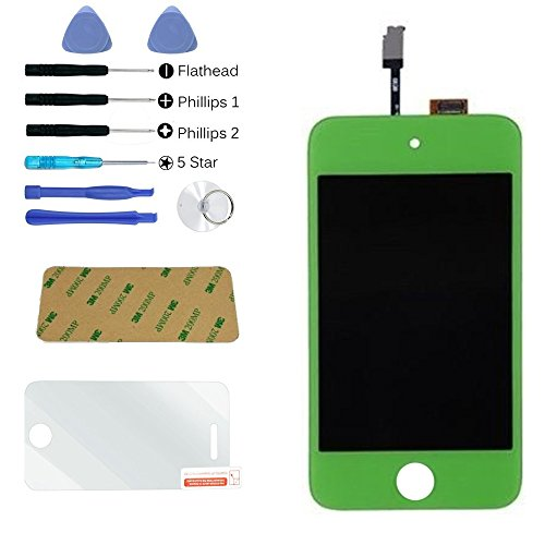 Zeetron Glass Digitizer LCD Assembly Replacement Screen for iPod Touch 4th Gen Green + Tools + Screen Protector + Cloth + Adhesive (Do It Yourself Kit) (Ipod Touch 4th Digitizer compare prices)