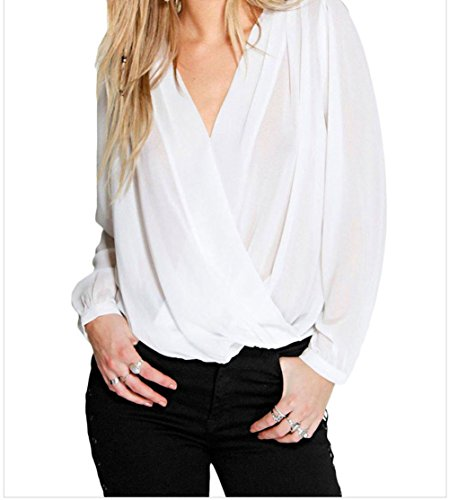 Black Friday FQHOME Womens Stylish Crochet Back Wrap Front White Blouse Size XL