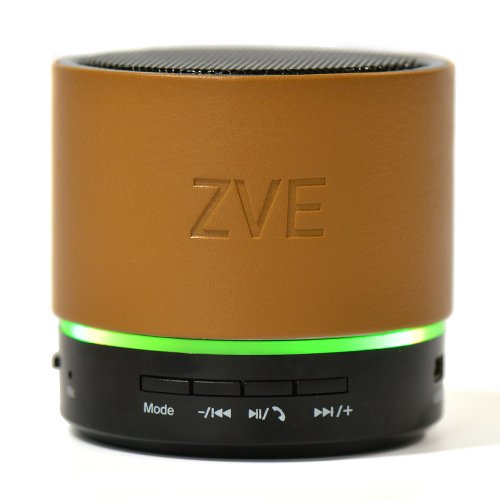 Zve Mini Portable Leather Wireless Bluetooth Speaker With Subwoofer Build-In Microphone Rechargeable Battery Stereo Sound Speakerphone (Brown)