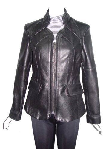 Paccilo Women PLUS SIZE 4153 Leather Moto Jacket Open Bottom Zip Front
