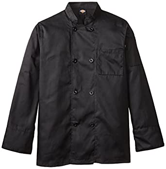 Dickies Occupational Workwear DCP118BLK Spun Polyester 8-Button Long Sleeve Chef Coat with Reversible Closure, Black