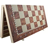 Dezire 19 Inch Folding Wooden Checkeers And Backgammon Game Set