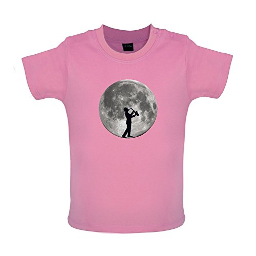 Saxophone-Player-Moon-Witziges-Baby-T-Shirt-8-Farben-3-bis-24-Monate