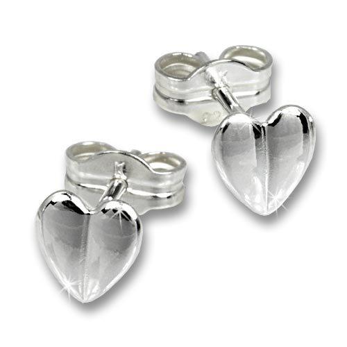 SilberDream earring little heart, stud, 925 Sterling Silver SDO536
