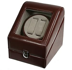 TOP QUALITY LEATHER AUTOMATIC DOUBLE WATCH WINDER BOX PI-BRN