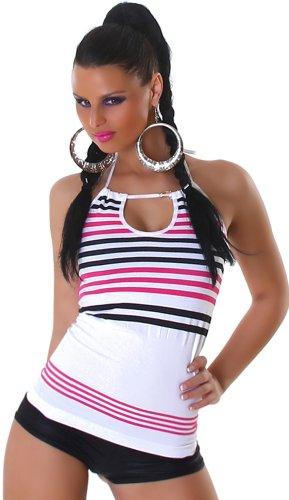 Damen Shirt Top rückenfrei Neckholder gestreift Streifen