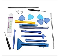 Aeoss ® Ultrathin 19 Pcs Steel Professional Opening Pry Tool Repair Kit with Non-Abrasive Nylon Spudgers and Anti-Static ,19 Piece Set Tool Set for Iphone Opening Repair Laptop Phone & Screen Disassemble Tools Tool Kit for opening and repairing Mobiles, PDA, Laptop .