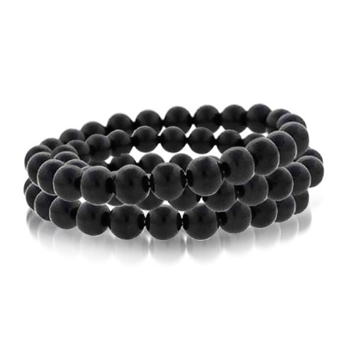 Bling Jewelry Genuine Onyx Stone Beaded Stretch Bracelet 8mm Set of 3