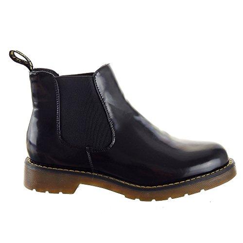 Sopily - Scarpe da Moda Stivaletti - Scarponcini Chelsea Low boots donna flashy Tacco a blocco 3 CM - soletta tessuto - Nero FRF-850-1 T 40 - UK 7