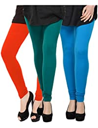 Kjaggs Women's Cotton Lycra Regular Fit Leggings Combo - Pack Of 3 (KTL-TP-12-13-9, Orange, Rama Green, Blue)