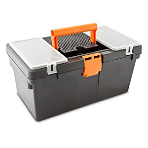 Werkzeugkasten leer mit Kleinteilefächern und herausnehmbarer Ablage