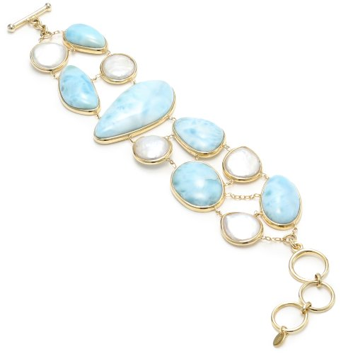 TARA Pearls Silver 18k-Plated White Freshwater and Larimar Bracelet