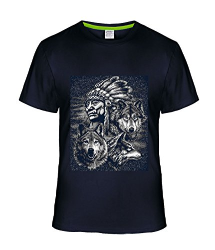 Batman Dream Men's couple Tees Indian Chief With 3 Wolfs navy (Wolfgang Puck Soaps compare prices)
