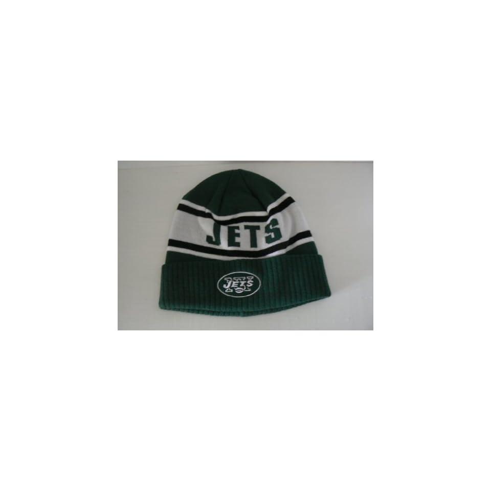 9df8cd77576 New York Jets Script Cuffed Beanie Hat Ski Skull Cap Lid Toque on ...