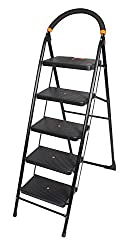 Truphe 5 Step Folding Ladder with Wide Steps, 5 step ladder with 7 years warranty