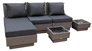 Ambientehome Polyrattan Loungegruppge inkl. Kissen Sitzgruppe Mali, grau/schwarz, 6-teiliges Set