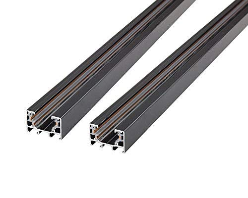J.LUMI RAL3002 Track Rails, Linear Track Lighting Rails, Halo Track System, Single Circuit, Black Paint Finish, 3-Ft per Section (Pack of 2 Sections) (Color: Black, Tamaño: Compatible Rails)