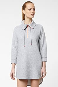 Long Sleeve Half Zip Sweatshirt Dress