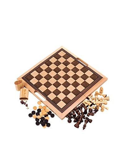 Trademark Games Deluxe Wooden 3-in-1 Chess, Backgammon & Checker Set