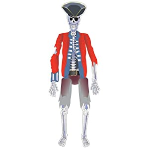 Creative Converting Buried Treasure Pirate Skeleton Jointed Cutout Party Decoration, 55-Inch