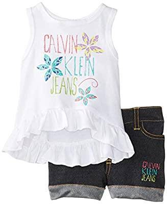 Calvin Klein Baby-Girls Infant Top with Denim Short, White, 24 Months