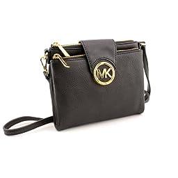 Michael Kors Fulton Women\'s Leather Crossbody Handbag Black