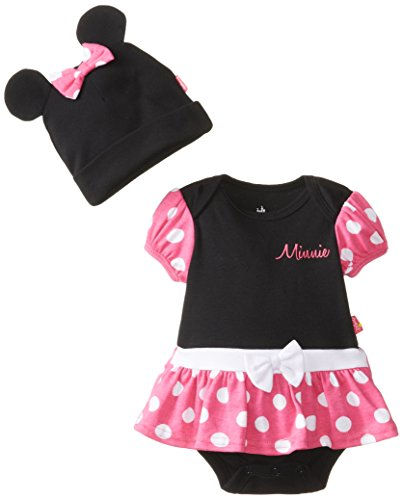 Disney Baby Baby-Girls Newborn Minnie Mouse Bodysuit Dress With Cap And Ears, Black, 3-6 Months front-825349