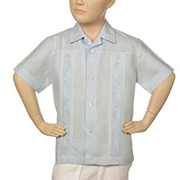Boys irish linen shirt in light blue short sleeve.