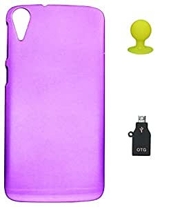 FCS Rubberised Hard Back Case For HTC DESIRE 828 With Mobile Stand And OTG Adaptor