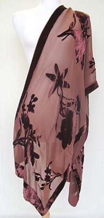 "Hand Dyed Silk Burnout Cut Velvet ""Isla"" Floral Scarf Shawl Stole Wrap Dark Rust"