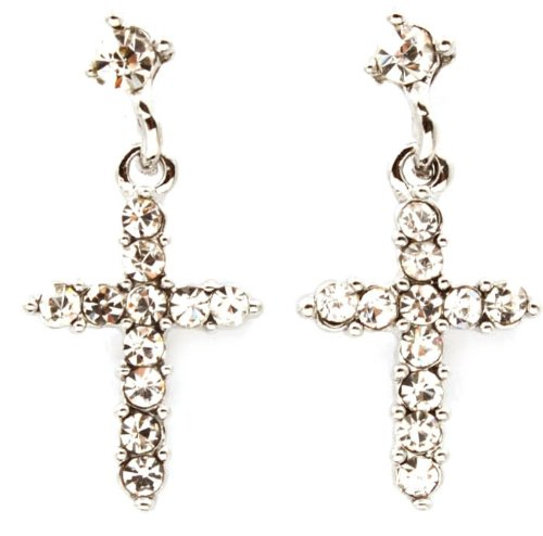 Adorable Small Clear Crystal Embellished Cross Drop Dangle Earrings Silver Rhodium Plating