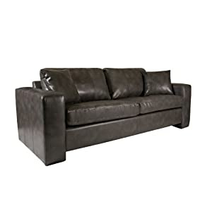 angelo:HOME Angelo Sofa in Renu Leather, Charcoal Gray
