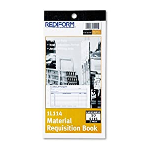 Material Requisition Book, 4 1/4 x 7 7/8, Two-Part Carbonless, 50-Set Book