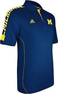 Michigan Wolverines Adidas 2012 Sideline Swagger Blue Performance Polo Shirt by adidas