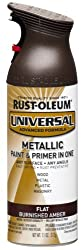 Rust-Oleum 271472 UNIVERSAL Flat Metallic Spray Paint, Burnished Amber, 312 grams