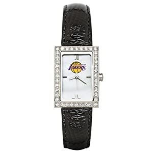 CZNSW22362Q-w-Black Leather Los Angeles Lakers Watch with Cz Frame by NBA Officially Licensed