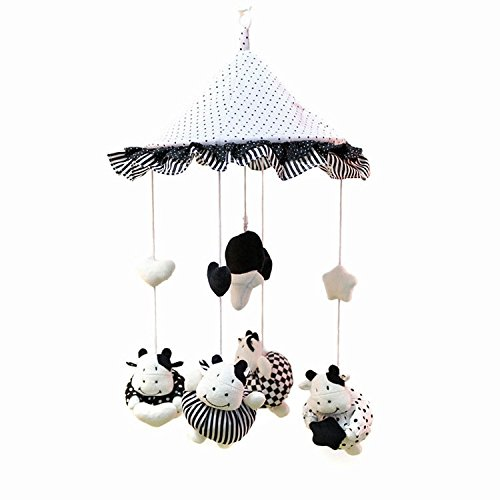 Purchasing Guide: Kawaii Calf Black Lace dot umbrella baby rattle baby toy plush stuffed newborn infant mobile rattles toys for kids