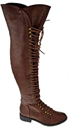 Travis 05 Women Military Lace Up Thigh High Combat Boot Black,Brown,8.5