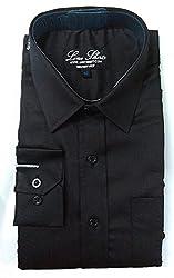 Line Shirt Men's Cotton Formal Shirt(91102_Black__38)