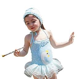 Toddle Cartoon Swan-Baby Girls Chiffon Bow Top Tutu 1 Piece Tankini Swimsuit Swimwear