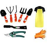Easy Gardening - Garden Tools Kit (9Tools) Weeder,Trowel Big,Trowel Small,Cultivator,Fork, Pruner, Khurpi, Orange...