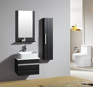 Ensemble meuble de salle de bain Flamengo Wengé - M-70115/1193 - Mirroir - Étagère suspendue - meuble sous vasque - vasque