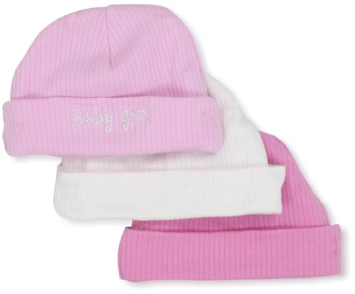 Gerber Baby-Girls  3 Pack Textured Knit Cap, Pink/White,