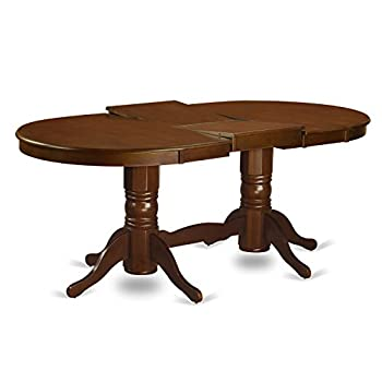 East West Furniture VAT-ESP-TP Oval Double Pedestal Dining Room Table with 17-Inch Butterfly Leaf
